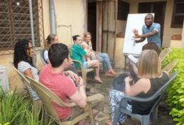 A language instructor leads an Ewe Language Course in Togo.