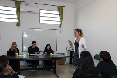 Projects Abroad Human Rights interns give their closing statements during a mock trial at their placement in Cordoba, Argentina.