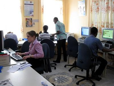 Interns on the Human Rights project in Ghana do office work