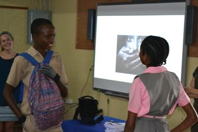 Projects Abroad Human Rights interns take part in an activity at a local school in Jamaica