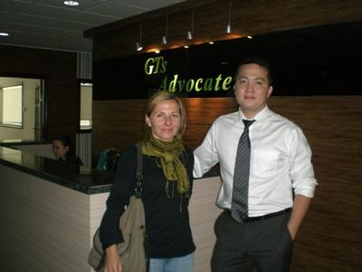 Volunteer with staff member on the Human Rights project in Mongolia