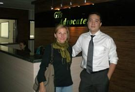 A Human Rights volunteer with her supervisor in Mongolia.