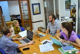 A group of interns on the Human Rights Internship in Morocco have a meeting.