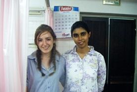 A dental intern and her supervisor take a photo at their placement in Sri Lanka.