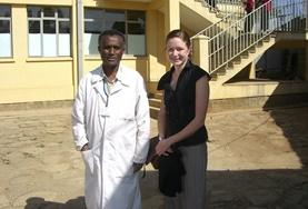 An Ethiopian doctor with his intern outside their placement.