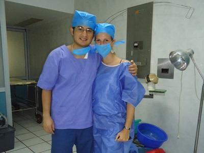 Nursing volunteers in Mexico dressed in scrubs in a hospital