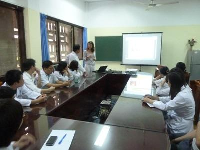 Projects Abroad interns attend a presentation at their medical placement in Vietnam, Asia