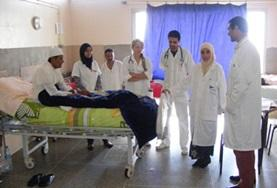 Nursing interns in Morocco observe senior nursing staff and doctors during consultations.