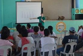 A student on the Philippines Occupational Therapy internship gives a presentation.