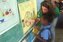 A child is assessed during a Nutrition Project in a developing country.