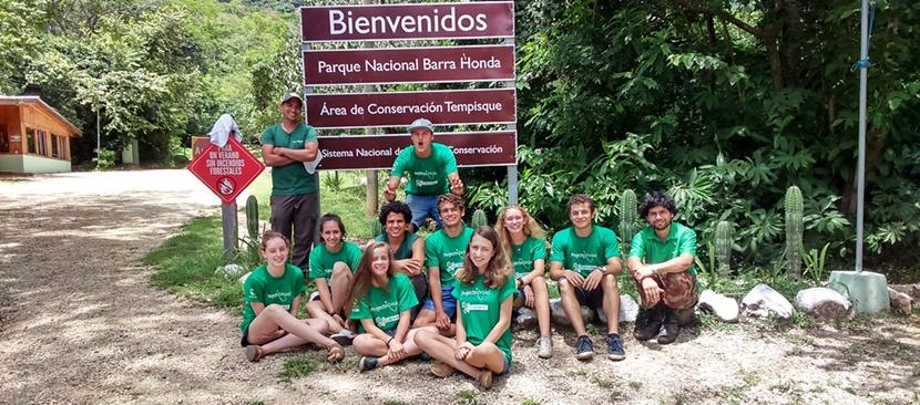 Middle school students on a service-learning project pose while on their Conservation Project in Costa Rica