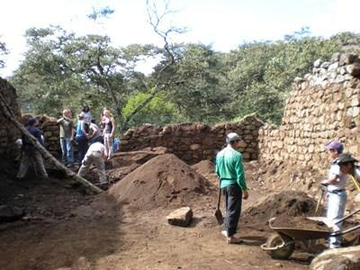 Volunteers on the Archaeology project in Peru dig for Incan artifacts