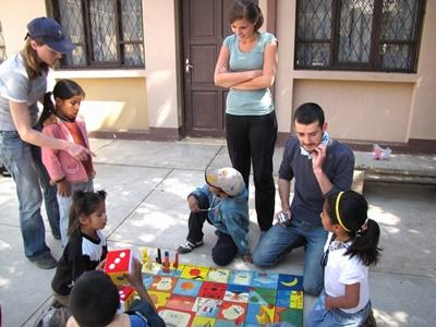 Professional Social Workers volunteering at placement with children in Bolivia