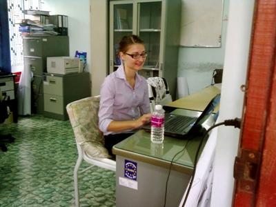 Volunteer does office work on the Journalism project in Cambodia