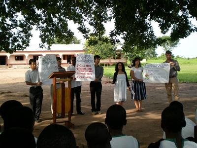 Human Rights interns do outreach work to educate locals on social issues