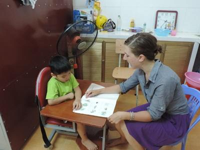 A professional Occupational Therapy volunteer at a placement in Vietnam