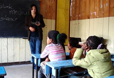Professional teacher volunteering at a school in Ethiopia