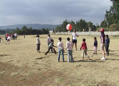 Physical education class in session with professional volunteer in Ethiopia