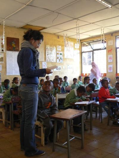 Professional volunteer at classroom placement in Ethiopia