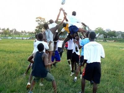 Rugby practice outside of a school on the Sports project in Ghana