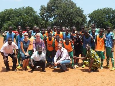 The Projects Abroad Stars soccer team poses for a photograph at the Soccer Project in Togo, Africa