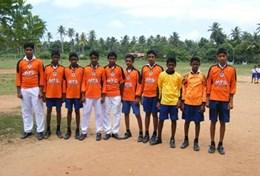 A group of Sri Lankan children before playing soccer during a physical education class.