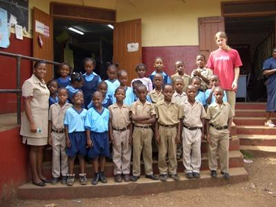 Volunteer with his class on the Teaching project in Jamaica, the Caribbean