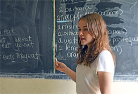 A volunteer teaches grammar as part of a French class at a school in Ethiopia.