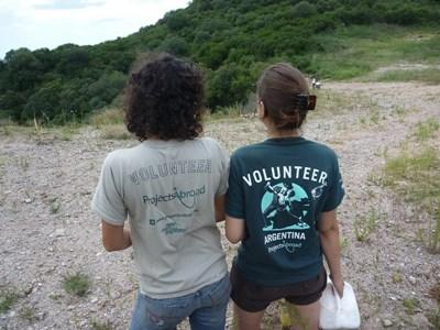 Volunteers working on a rehabilitation center for animals in Argentina