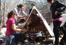 A group of interns build a kennel at a dog shelter in Argentina.