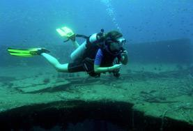 A volunteer goes diving on the Conservation & Environment Project in Asia.
