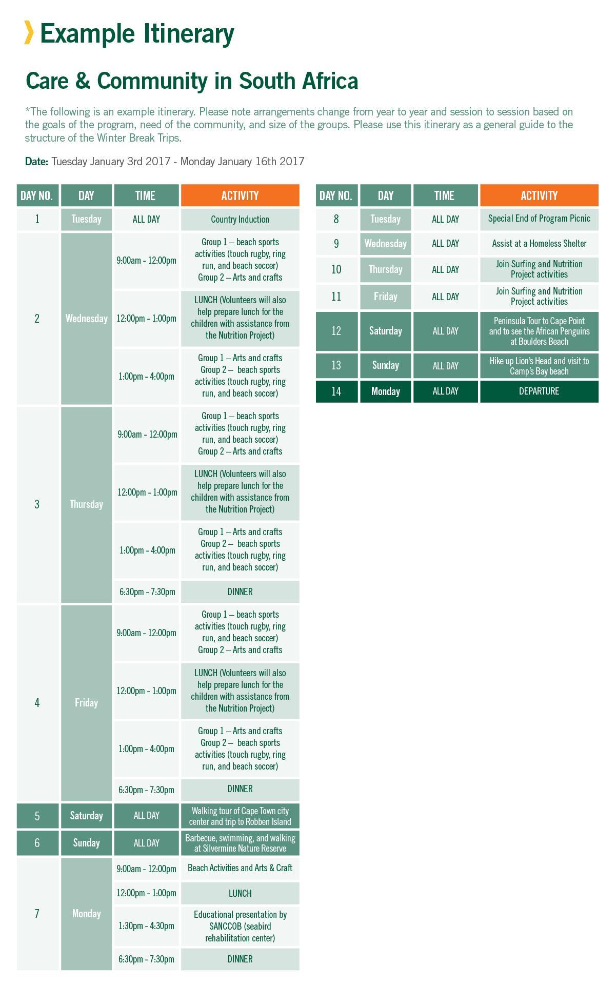 Winter Break Trip sample schedule for Care in South Africa 2 Weeks