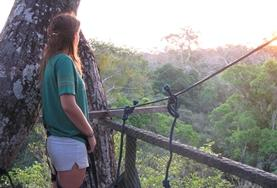 Mexico 19+ Conservation volunteer watches the sun rise from a canopy walkway.