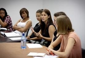 Interns on the Boliva Human Rights Project attend a meeting.